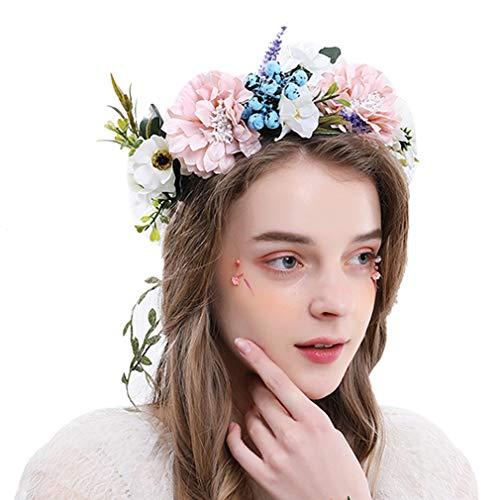 YAZILIND flor corona floral diadema accesorios de guirnalda para niña pelo corona boda fiesta festivales