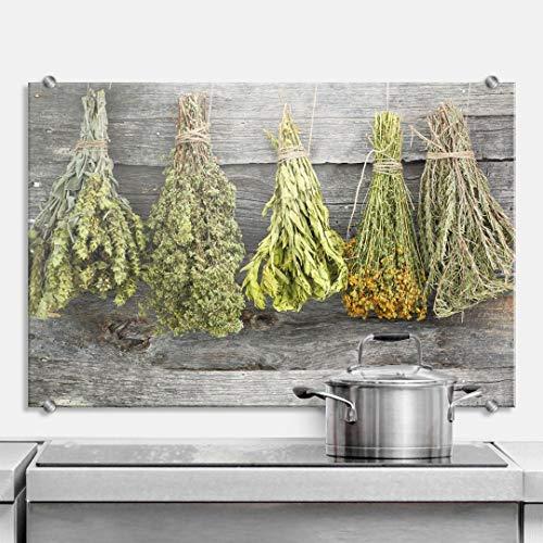 XXL Glasbild Wandspritzschutz Herd Spritzschutz Pfannen Küchen Rückenwand Kräuter mit Klemmbefestigung Edelstahl (60 x 40 cm, Getrocknete Kräuter)