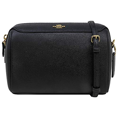 "Black Crossgrain Leather. fabric lining. Coach Logo On Front. Gold Tone Hardware. 23"" Adjustable Crossbody Strap. Zip Closure 2 Interior Card Slots. Outside zip pocket. 5.5"" H x 8"" L x 4"" D"