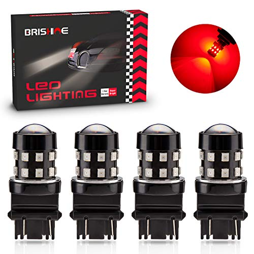 BRISHINE 4-Pack Super Bright 3157 3156 3057 4057 3157K LED Bulbs Brilliant Red 9-30V Non-Polarity 24-SMD LED Chipsets with Projector for Brake Tail Lights, Turn Signal Lights