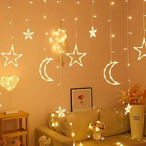 showyow Luces de Hadas LED, Luces de Guirnalda de Estrellas y Luna, Navidad, Boda, Familia, Dormitorio, decoración de Fiestas, Luces de Ventana