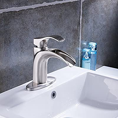 Beati Bathroom Sink Faucet Brushed Nickel Waterfall Spout Single Handle One Hole 3 Hole Deck Mount Mixer Tap with Cover Plate