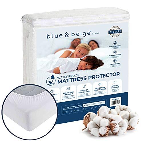 Blue&Beige Wasserdichter Matratzenschoner 180 x 200 | Matratzenauflage | atmungsaktiver Matratzenschutz | aus 100% Baumwolle, effektiver Anti-Milben, waschbar & ideal für Allergiker
