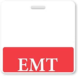 Red EMT Badge Buddy - Horizontal- Heavy Duty Spill Proof & Tear Resistant Cards - Double Sided- Quick Role Identifier ID Buddies for Emergency Medical Technicians - Printed in USA - by Specialist ID