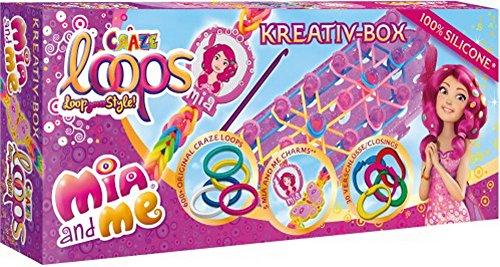 CRAZE Loops Mia and Me Kreativ-Box Silikonringe Knüpfringe inkl. Zubehör Mädchenschmuck DIY Armband 51581, Bunt