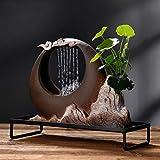 LIWEWO Decoración de acuarios Tabla Fuente con la Niebla del Agua, Ceramic Fuente Decorativa humidificador Conveniente for la Mesa Cubierta Adornos creativos