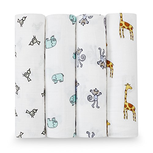 Aden + Anais Jungle Jam - Pack de 4 muselinas, unisex