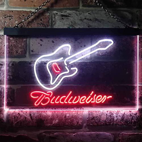 Zusme Budweiser Guitarra, plástico, Blanco y rojo., W30cm x H20cm