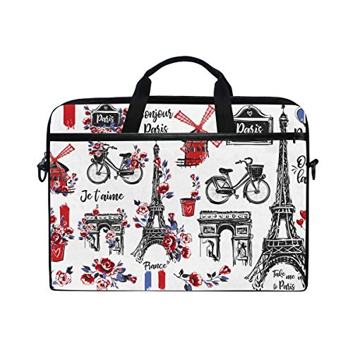 AHOMY 15 Inch Laptop Bag Paris Vintage Watercolor Eiffel Tower Shoulder Laptop Sleeve Case Bag with Adjustable