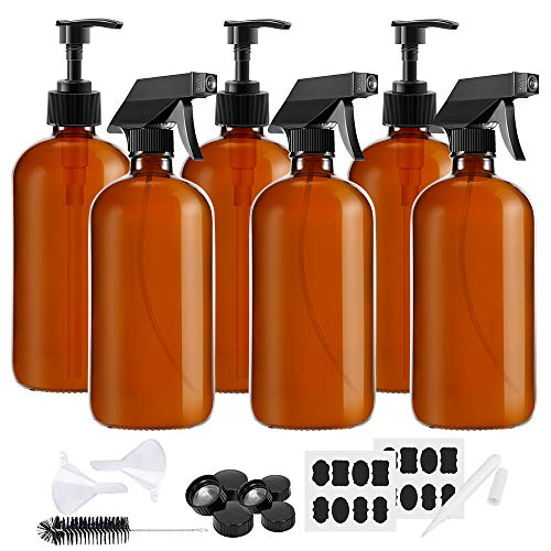 Glass Spray Bottles Pump Bottles, MASSUGAR 6 Pack 8 oz Amber Glass Spray Bottles Pump Glass Bottles Refillable Container for Essential Oils, Cleaning Products, or Aromatherapy