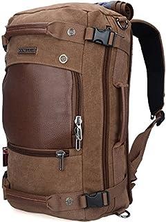 WITZMAN Men Travel Backpack Canvas Rucksack Vintage Duffel Bag A2021 (21 inch Brown)