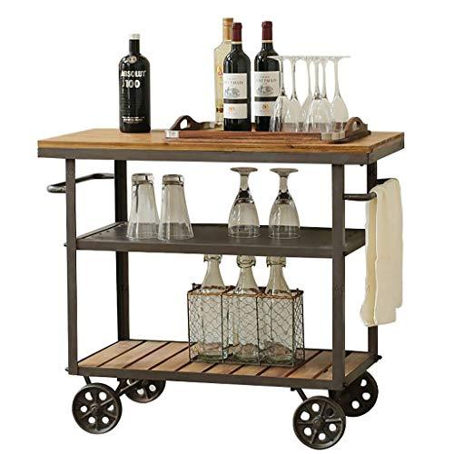 Vintage Style 3 Ebenen Servierwagen Große Küche Metall + Holz Robuster Rollwagen mit Feststellrädern für den Heimgebrauch im Hotelrestaurant