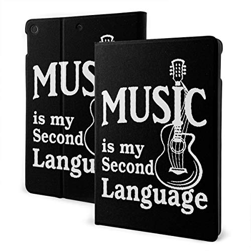 liukaidsfs Lightly Retro Music is My Second Language Guitar Slim Lightweight Smart Shell Stand Cover Case for iPad Air3 & pro (10.5-Inch,Auto Wake/Sleep)