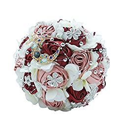 Burgundy+silver Wedding Bouquet Brooches