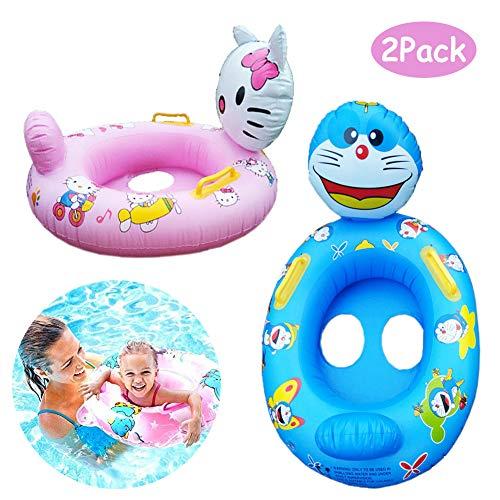 WENTS Baby Schwimmring 2 Pcs Baby Schwimmhilfen mit 2 Haltegriffe Aufblasbarer Schwimmen Ring Baby Schwimmsitz Für Kinder Von 6 Monaten Bis 6 Jahre (KT Katze, Dingdong Katze)