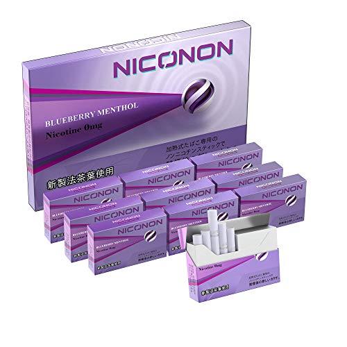 NICONON ニコノン 禁煙後の新しいカタチ。アイコス互換機 次世代ニコチン0mg加熱式スティック (ブルーベリーメンソール, 1カートン(10箱入り))
