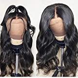 FASHION PLUS Full Lace Wig Human Hair, Brazilian Virgin Human Hair Wigs With Baby Hair 150% Density Body Wave Full Lace Wigs For Women Natural Color (14 inch, Full Lace Wig)