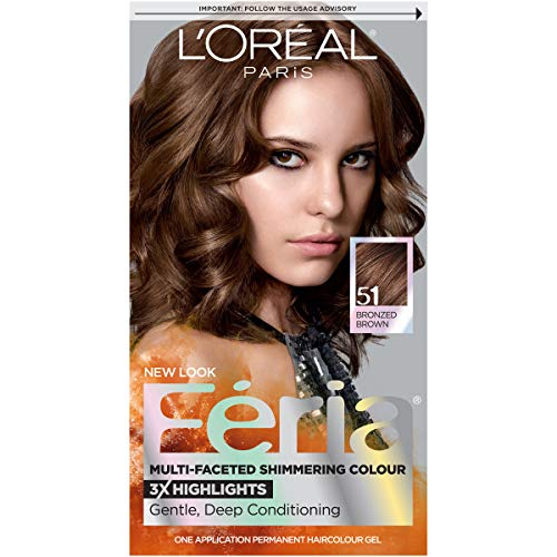 L'Oreal Paris Feria Multi-Faceted Shimmering Permanent Hair Color, 51 Brazilian Brown (Bronzed Brown), Pack of 1, Hair Dye