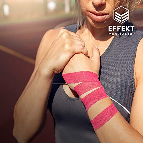 Effekt Manufaktur Kinesiologie Tape in verschiedenen Farben (5m x 5cm) – Kinesiotapes wasserfest und elastisch Sport – Physiotape Kinesiotape Set Sporttape – Tape Kinesio (Hellblau + Pink, 2er Set) - 6