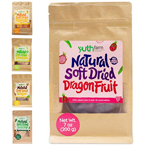Yuthfarm  Soft Dried Dragon Fruit 7 Oz On The Go Pack  Organic Dried Dragon Fruit, Dried Fruit Snacks, Non GMO, No Artificial Flavor and Preservatives, Nutritious and Healthy Snack (D7)