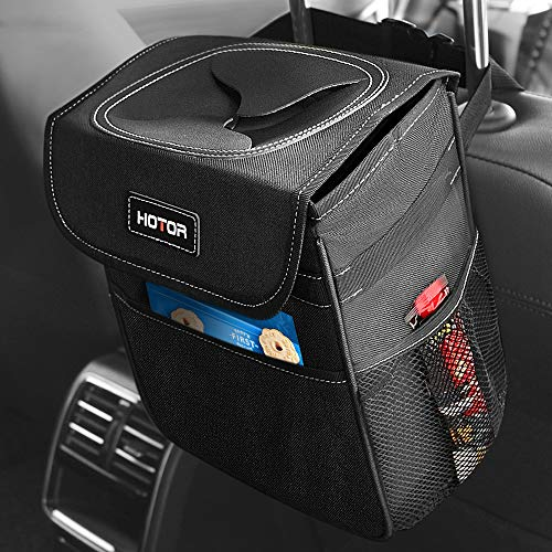 HOTOR Car Trash Can with Lid and Storage Pockets, 100% Leak-Proof Car Organizer, Waterproof Car Garbage Can, Multipurpose Trash Bin for Car - Black