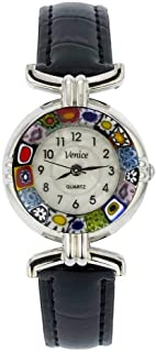 GlassOfVenice Murano Glass Millefiori Watch with Leather Band - Black