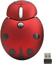 Mini Cute Wireless Mouse, 2.4G 3000DPI Cartoon Animal Ladybug Shape Cordless Computer Mouse Novelty Small Tiny Travel Mouse with USB Receiver(Red)