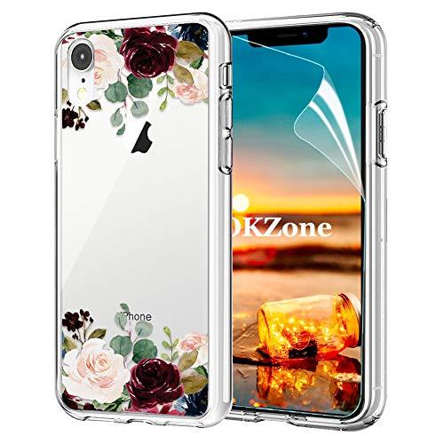 OKZone Coque iPhone XR [avec Film de Protection écran HD], Floral Flower Blossom Fleur Clair Design Motif Silicone Gel TPU Souple Housse Etui de Protection pour Apple iPhone XR (Rouge Foncé)