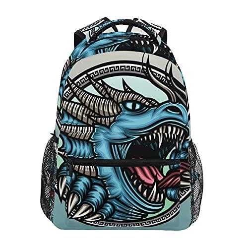 Dinosaurio Dragón Azul Enojado Mochila Escolar Impermeable Mochilas Escolares para Estudiante Adolescentes Niñas Niños