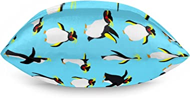 Satin Pillowcase for Hair and Skin Cute Animal Penguin Silk Pillow Cases Soft and Cozy Cooling Slip Pillow Cover with Envelop