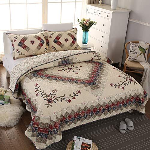 Jameswish Beige Floral Embroidered Quilt Set King Size 100% Cotton Ethnic...