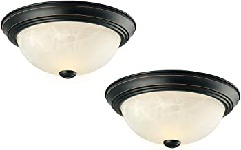 Design House 587519 Mounts Traditional 2 Pack 2 Indoor Dimmable Ceiling Light with Alabaster Glass for Bedroom Hallway Kitchen Dining Room, Oil Rubbed Bronze, 2 Piece