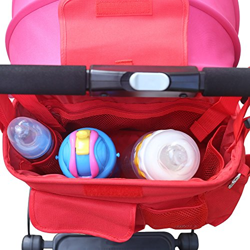 VIFLYKOO Organizer per Passeggino, Borsa da Passeggino Carrozzina per Cochecito de Bolsa de Bebé Organizador - Rosso