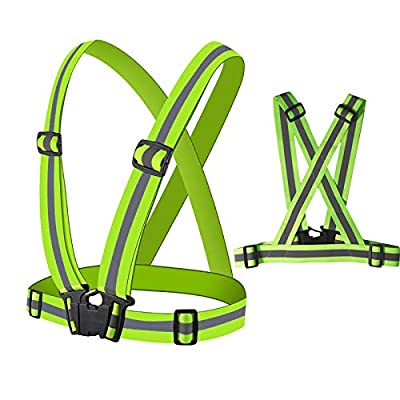 QNOUS Reflective Vest, 2 Pack Safety Gear, High Visibility Elastic Strap for Night Running, Cycling, Walking, Vehicle. Fits Over Outdoor Clothing Motorcycle Jacket, Safety Gear for Men, Women