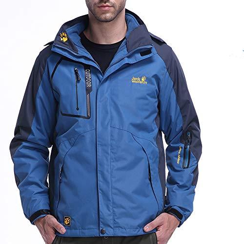 Ddl Herren Outdoor wasserdichte Jacken 3 in 1 windundurchlässigen Ski Mantel mit herausnehmbarem Fleece Warmer Jacke Sport-Hooded Softshell Weiche,Denimblue,4XL