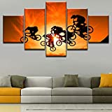 Decoración para el hogar 5 paneles Ciclistas Cartel Sol Paisaje Cielo Pintura deportiva Arte de la pared Impresión de la lona Imágenes del paisaje para la sala de estar