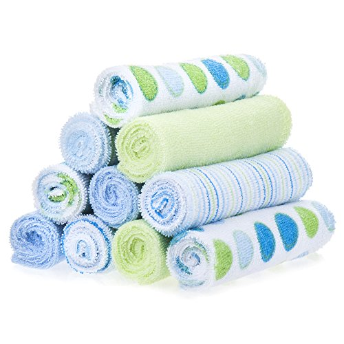 Spasilk 10 Pack Soft Terry Bath Washcloths – Newborn Boy or Girl – Baby Shower Gift