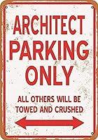 アルミメタルノベルティ危険サインインチ、建築家駐車場のみ、ガレージキッチン壁装飾ショップバスルーム壁ヤードポスター屋内と屋外に簡単に取り付け可能