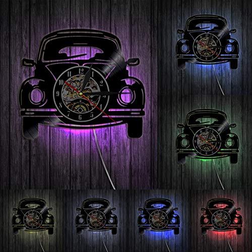 hxjie Retro Auto Wanduhr Oldtimer Vinyl Schallplatte Uhr Moderne Wandbehang Kunst Wanduhr Auto Liebhaber Zuhause Zimmer Schlafzimmer Garage Dekoration-Mit LED