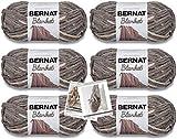 Bernat Blanket Yarn - 6 Pack Bundle with 3 Patterns - Silver Steel