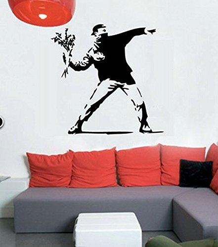 budhasuite® Vinilo Decorativo Banksy Hoolligan .(120x120cm.Aprox.) Color Negro.