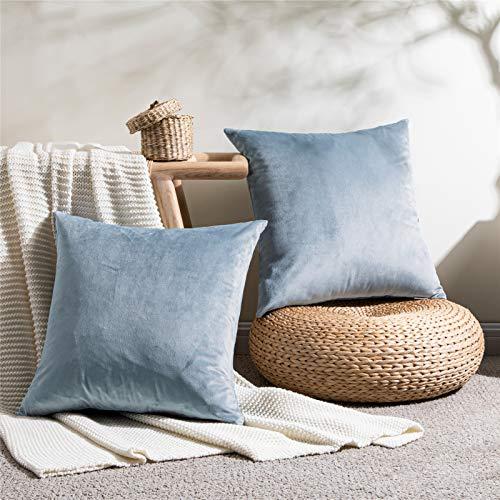 Topfinel - Set di 2 federe per cuscino 45 x 45 cm, in velluto morbido, per Natale, soggiorno, camera da letto, moderna, copricuscino quadrato, motivo grigio e blu, tinta unita, decorazione per divano
