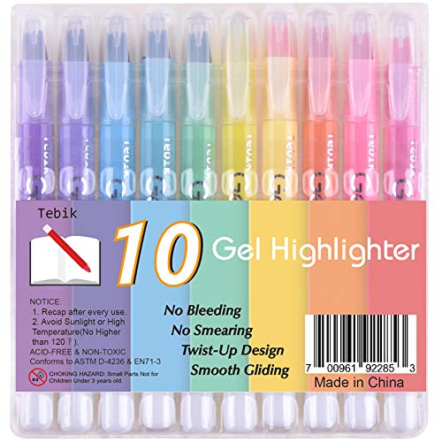 Tebik Gel Highlighter, 10 Colors Dry Highlighter Study Kit, Highlighters Assorted Colors, Twistable Design, No Bleeding Great for Journaling, Highlighting and Studying