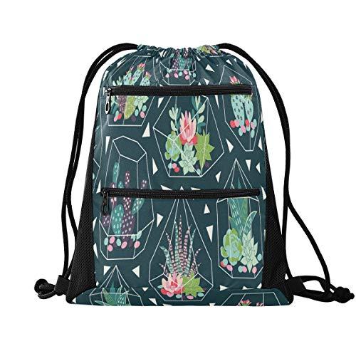 QMIN Bolsa de gimnasio con cordón para suculentas, flores, cactus geométrico, con cordón ajustable, con bolsillos con cremallera, mochila deportiva, mochila de viaje, ligera, para hombres, mujeres, niños y niñas