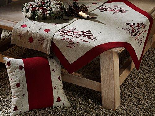 Weihnachten Tischdecke Weihnachtsdorf Leinen Natur Mitteldecke schön Bestickt Motiv Winterlandschaft in rot 85x85 cm Weihnachtsdeko TOP QUALITÄT Typ174