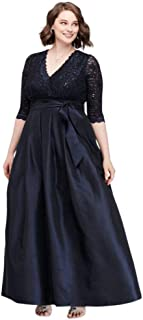 Lace Surplice Bodice Taffeta Plus Size Ball Mother of Bride/Groom Gown Style JHDW5750
