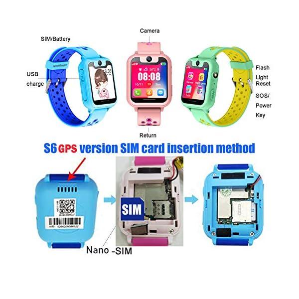 PTHTECHUS Telefono Reloj Inteligente LBS Niños - Smartwatch con Localizador LBS Juegos Despertador Camara Linterna per… 5