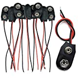 Trenro 10 Pack 9V Battery Clip Connector, I Type Faux Leather Long Cable Housing, Black