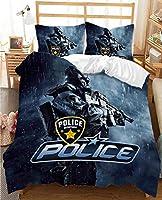 警察の布団のカバー、子供の漫画車の寝具セット、男の子の女の子のための羽毛の女の子のための羽毛の女の子の寝室の装飾 (Color : C, Size : 135x200cm)