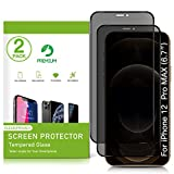 Uxinuo Privacy Screen Protector for iPhone 12 Pro Max 2020 6.7' 2 Pack Anti Spy Tempered Glass Edge to Edge Full Coverage Scratch Resistant - Work Most Case
